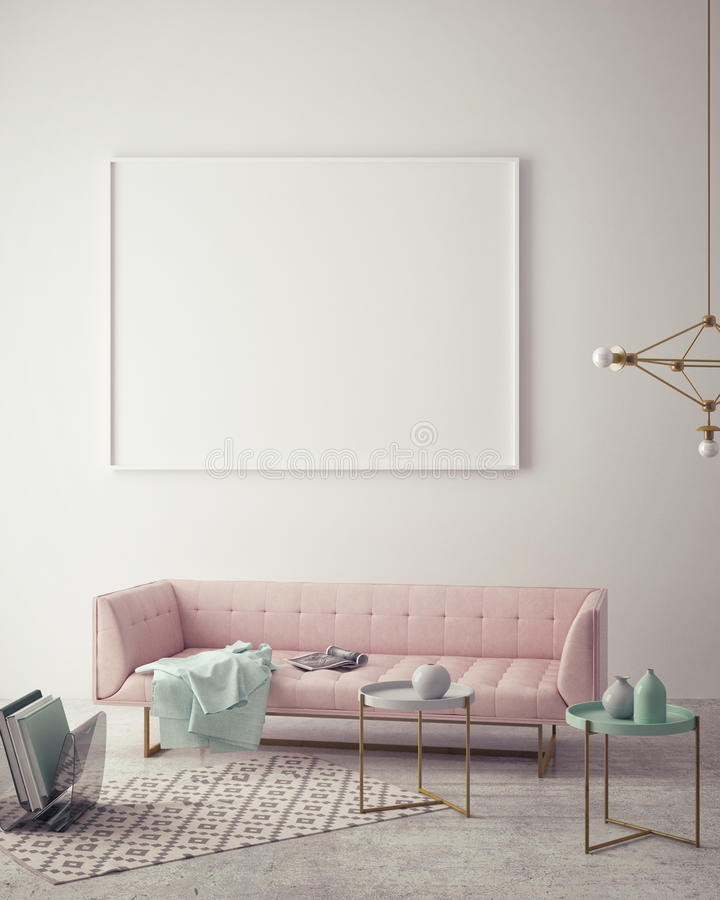 Mock up blank poster on the wall of hipster living room,. 3D rendering, 3D illustration