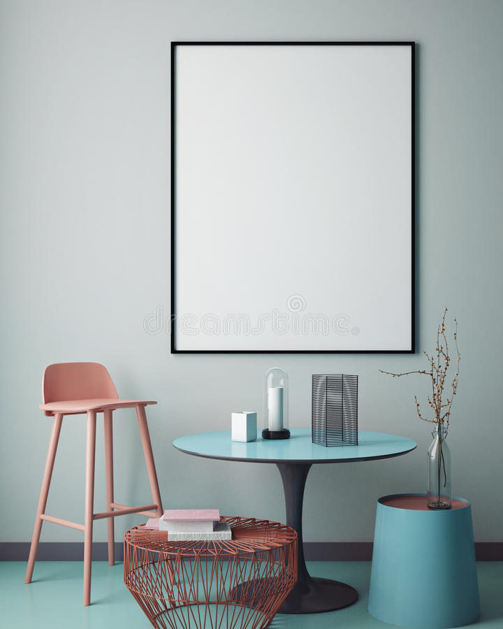 Mock up blank poster on the wall of hipster living room, vector illustration
