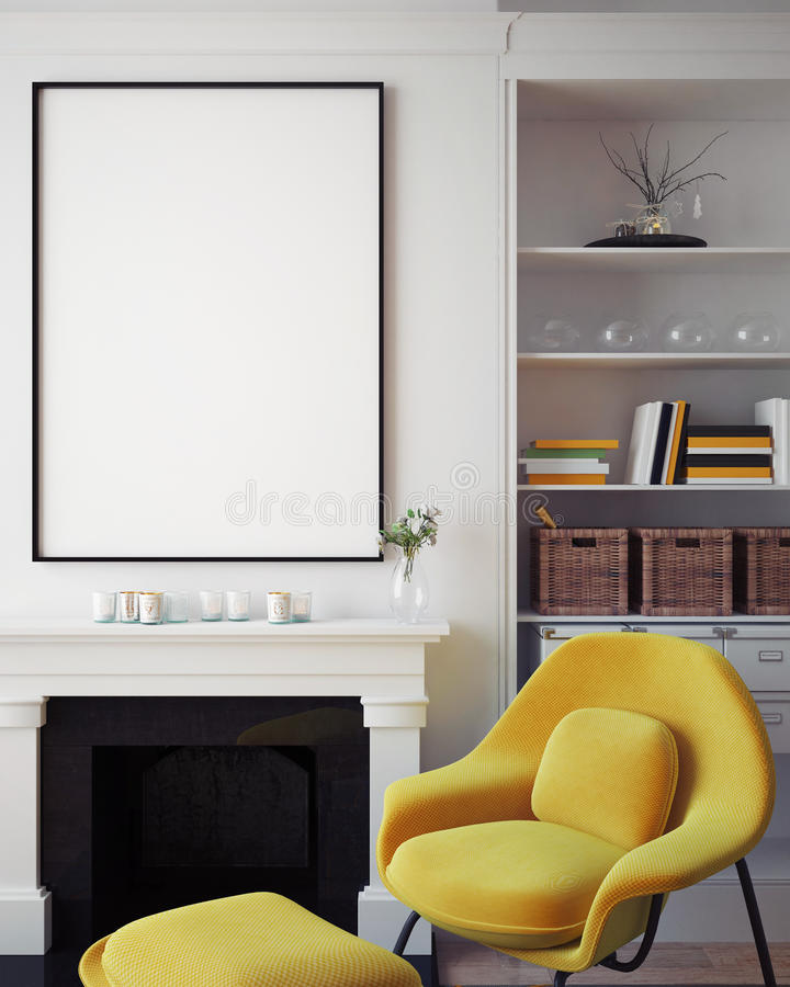 Mock up blank poster on the wall of hipster living room, 3D rendering vector illustration