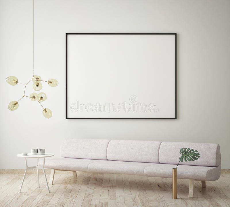 Mock up blank poster on the wall of hipster living room, 3D rendering, vector illustration