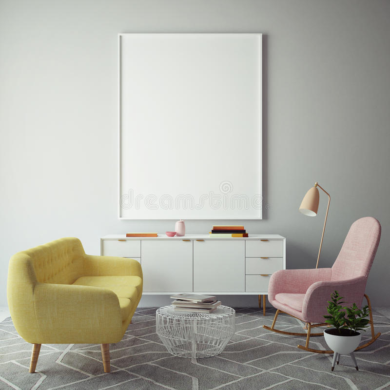 Mock up blank poster on the wall of hipster living room, 3D rendering royalty free illustration