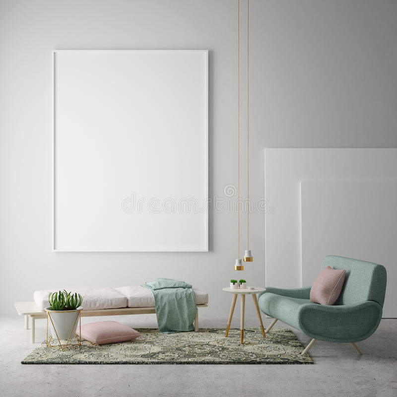 Mock up blank poster on the wall of hipster living room, 3D rendering, royalty free illustration