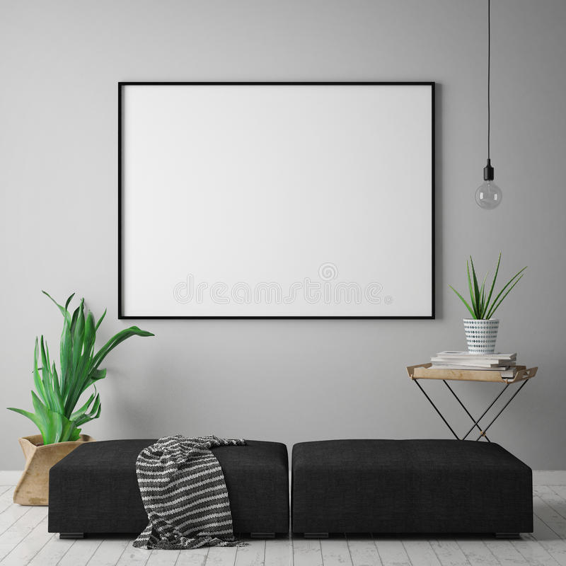 Mock up blank poster on the wall of hipster living room, scandinavian style, 3D rendering, stock illustration