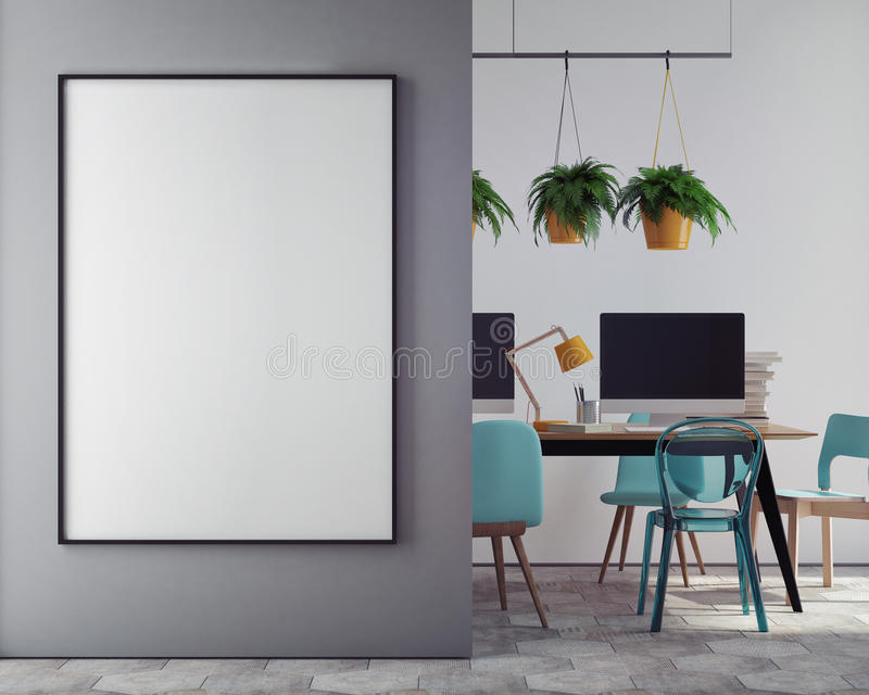 Mock up blank poster on the wall of hipster office, royalty free illustration