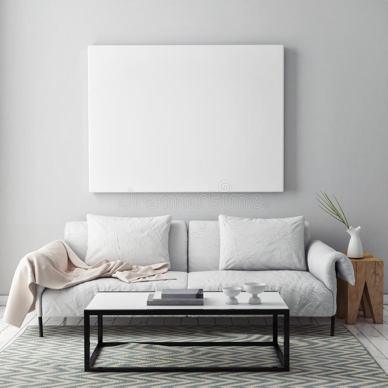 Download Mock Up Blank Poster On The Wall Of Livingroom Stock Image - Image of furniture, elegance: 63180505