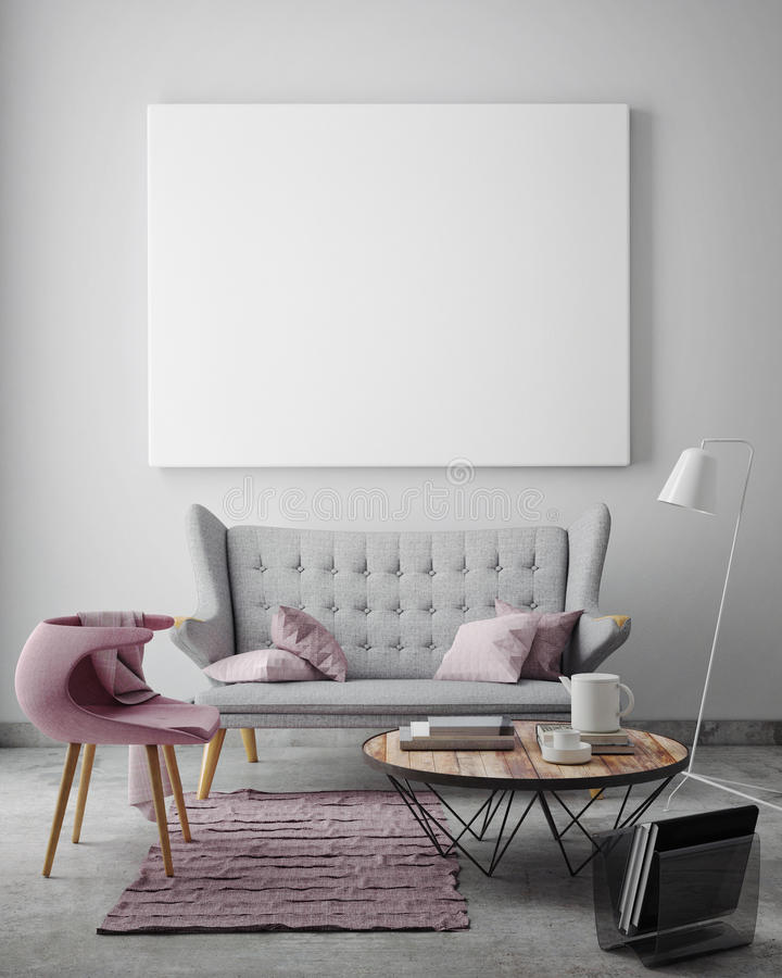 Mock up blank poster on the wall of livingroom,. 3D render stock image