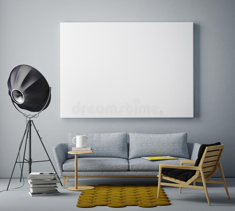Mock up blank poster on the wall of livingroom,. 3D render stock photography