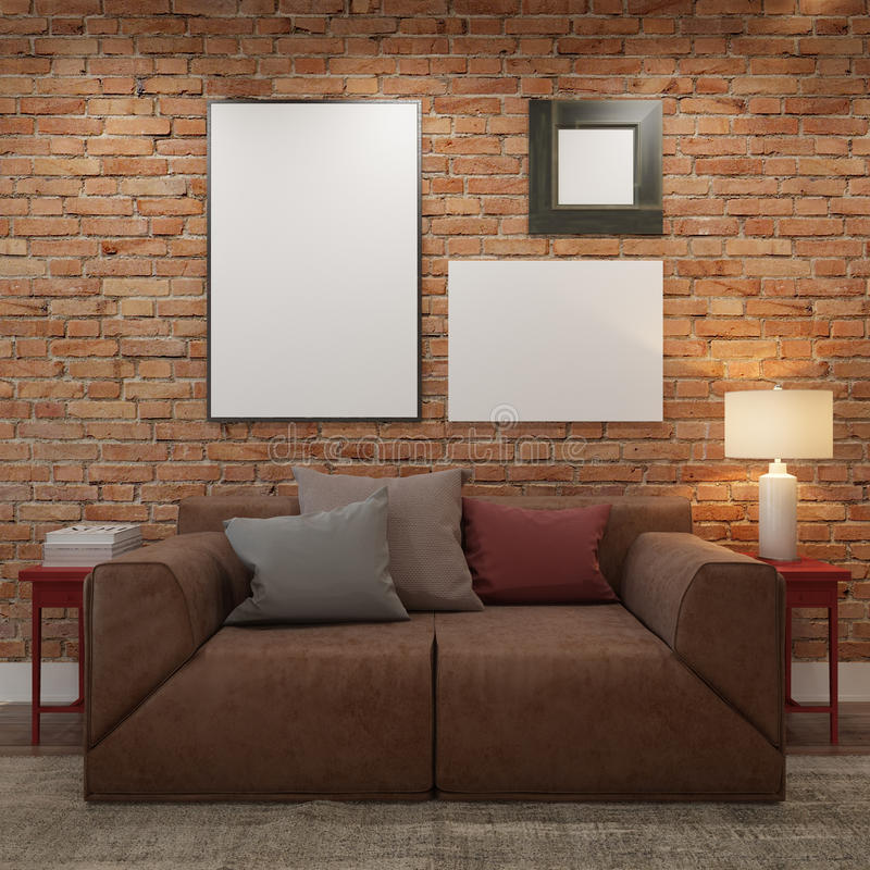 Brick Wall With Posters Living Room