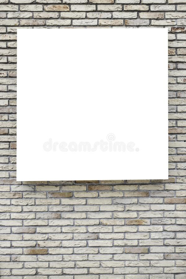 Mock up. Blank vertical billboards, poster frames, advertising on the brick wall. stock image