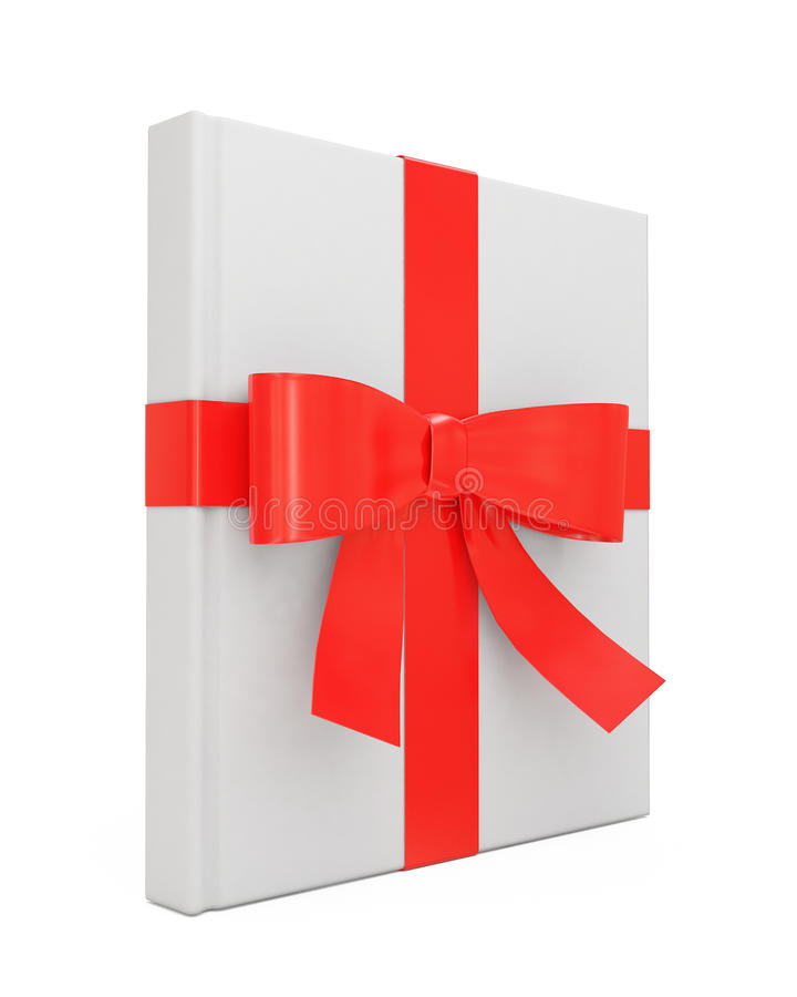 Mock up blank white book standing as gift with red ribbon isolated on white background royalty free stock images