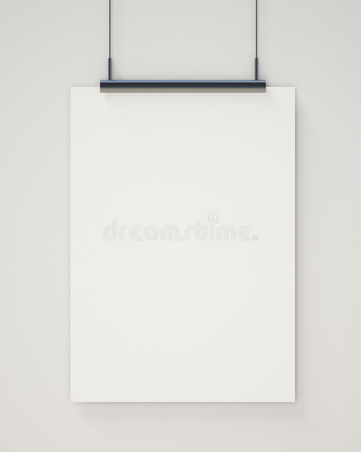 Mock up blank white hanging poster on white wall, background royalty free stock image