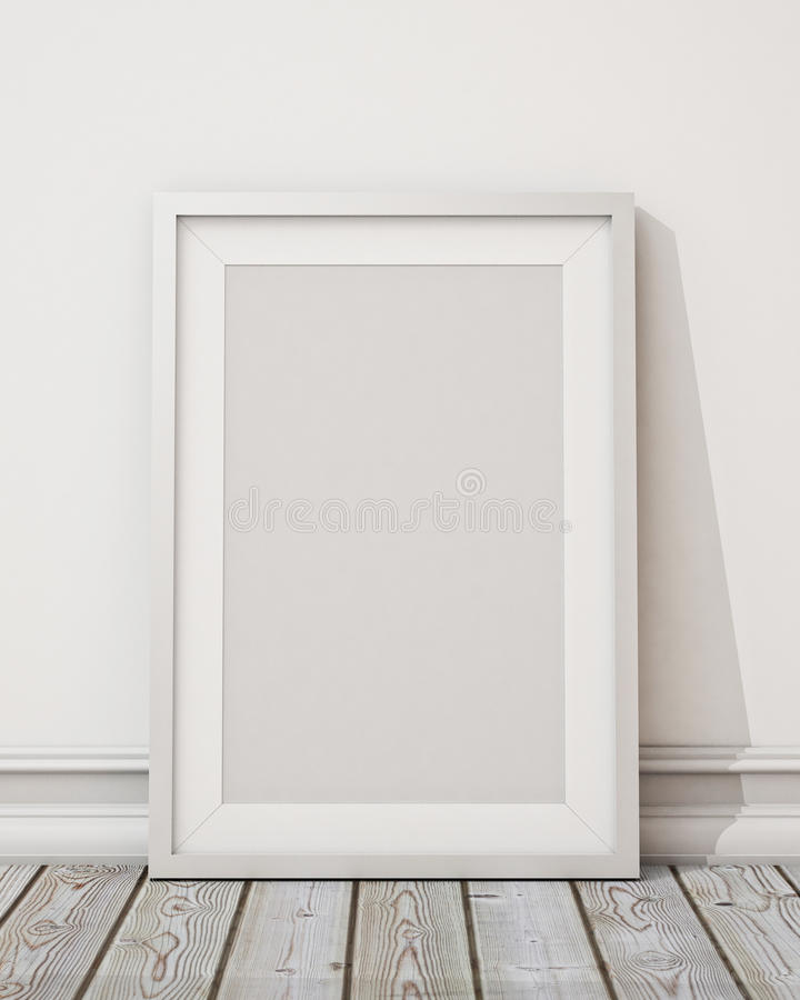 Mock up blank white picture frame on the white wall and the wooden floor, background stock illustration
