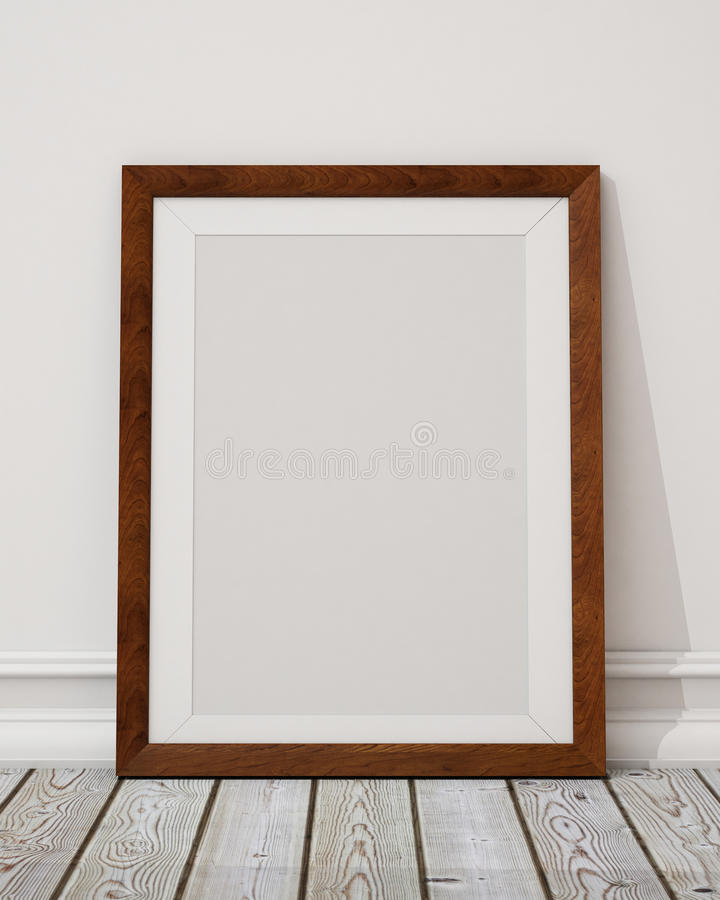 Mock up blank wooden picture frame on the wall and the floor vector illustration