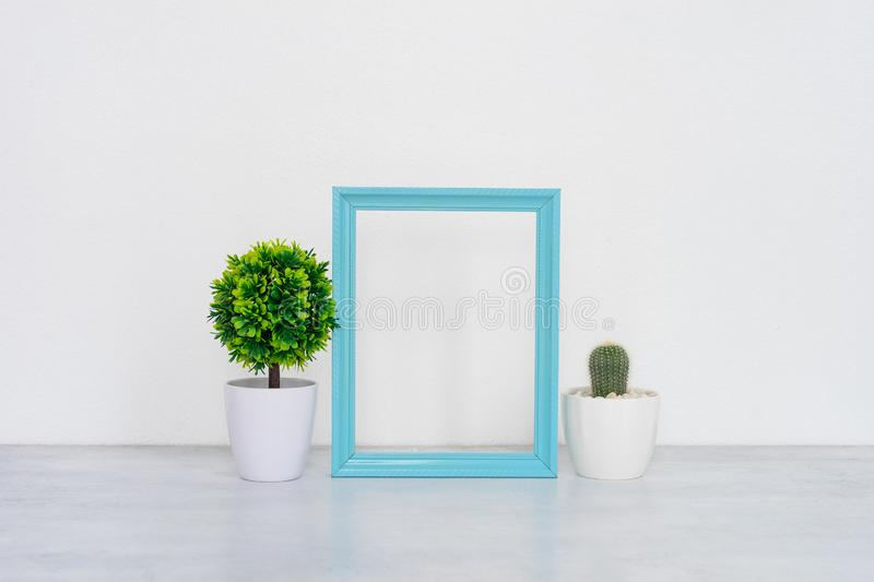 Mock up poster frame in interior background. stock photography
