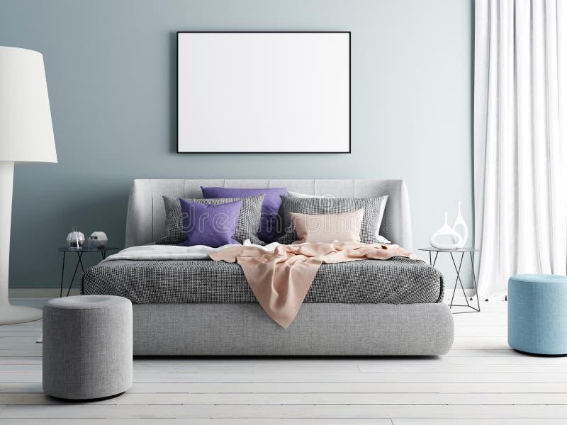 Mock up blue wall bedroom interior. Scandinavian style interior. royalty free illustration