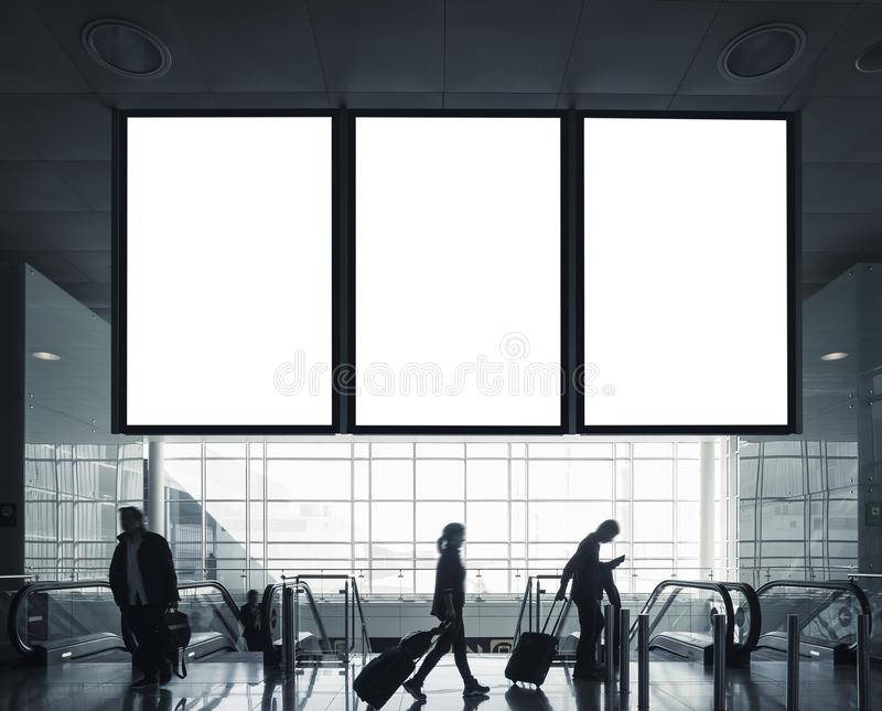 Mock up board flight Information Signage Passengers with Luggage Airport Travel concept. Mock up board flight Information Signage Passengers with Luggage Airport stock image