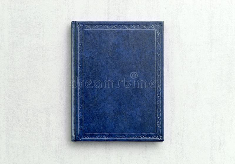 Mock up book blue color on gray background close-up stock photos