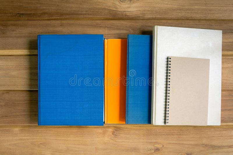 Mock up book on desk wood. With education concept royalty free stock images