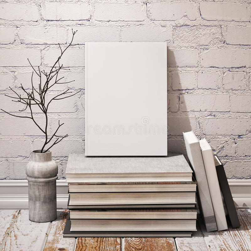 Mock up book on pile of books in hipster loft interior stock photo