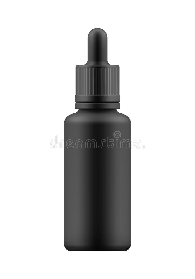 Mock-up of bottle with dropper. Vector realistic blank template of plastic bottle with dropper for organic aromatic essential oil. Mock-up of package. Empty and stock illustration