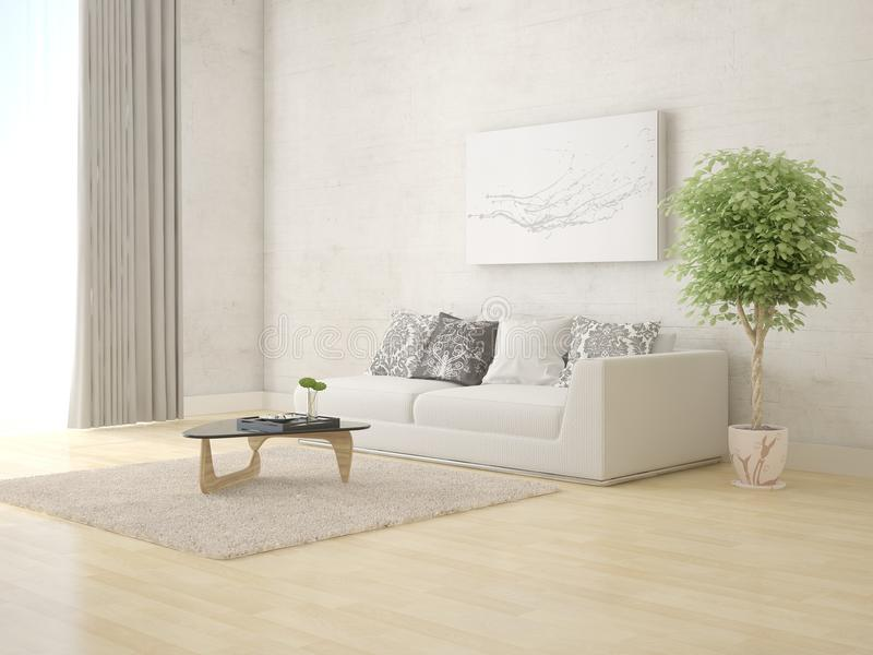 Download Mock Up A Bright Living Room With Comfortable Comfortable Sofa.  Stock Illustration   Illustration