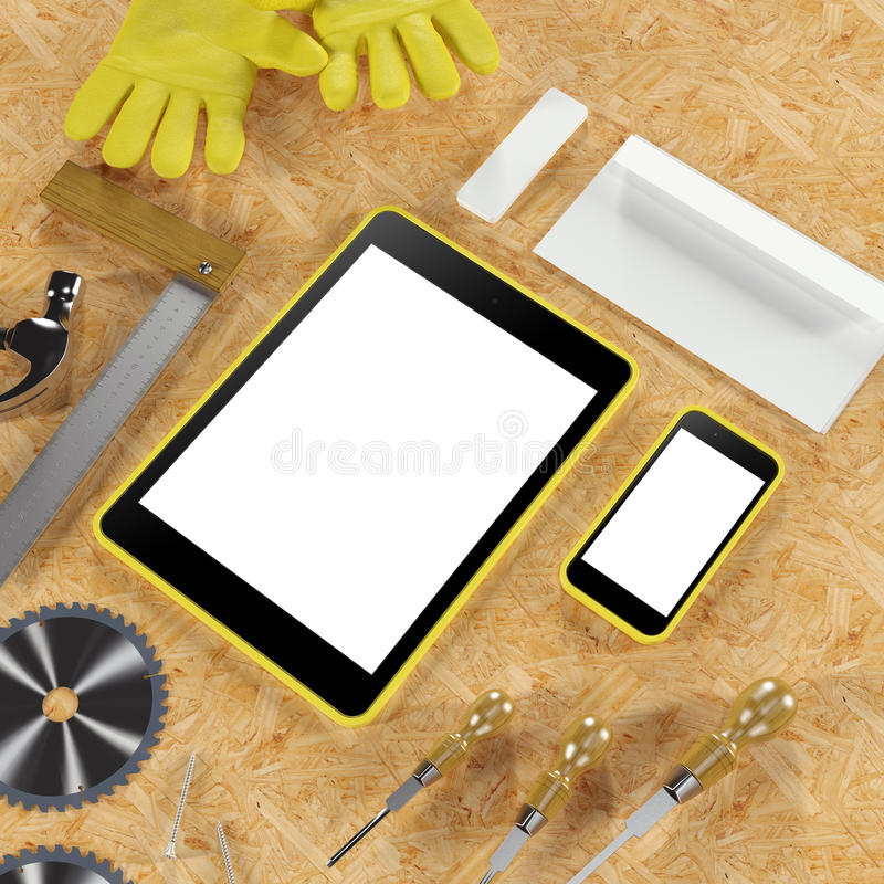 Mock up business template. Carpenter's workspace. High resolution stock photo