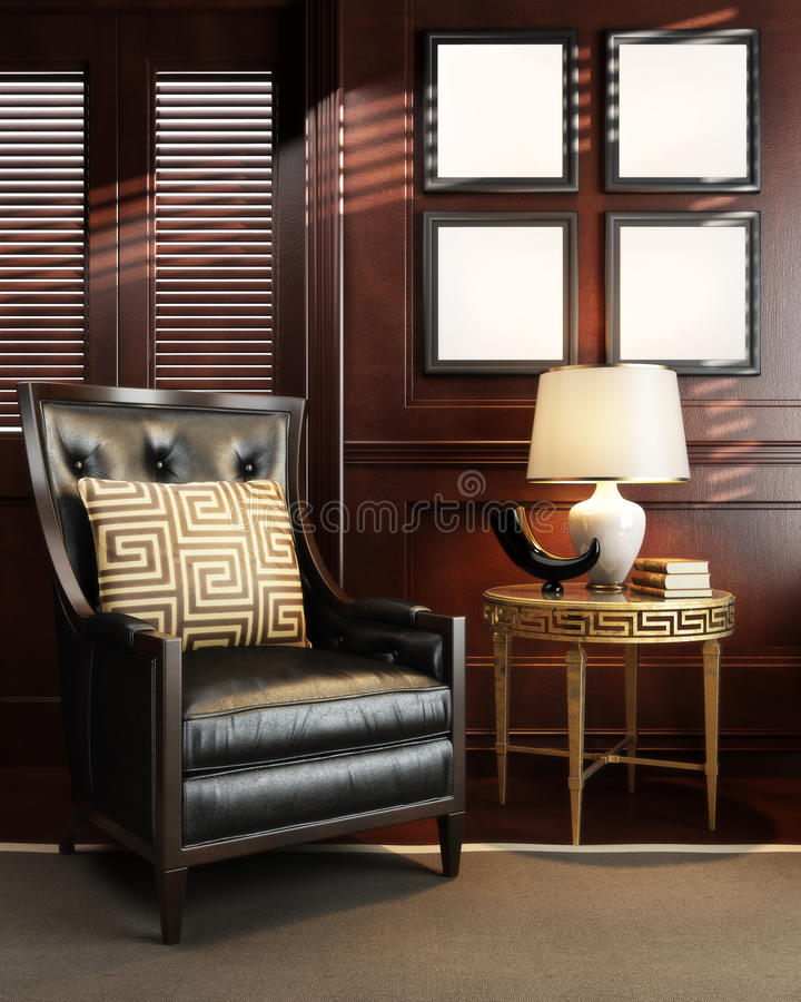 Mock up in classy upscale room or office space. stock illustration