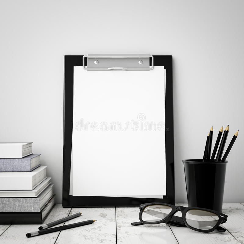 Mock up clipboard with interior background, stock image