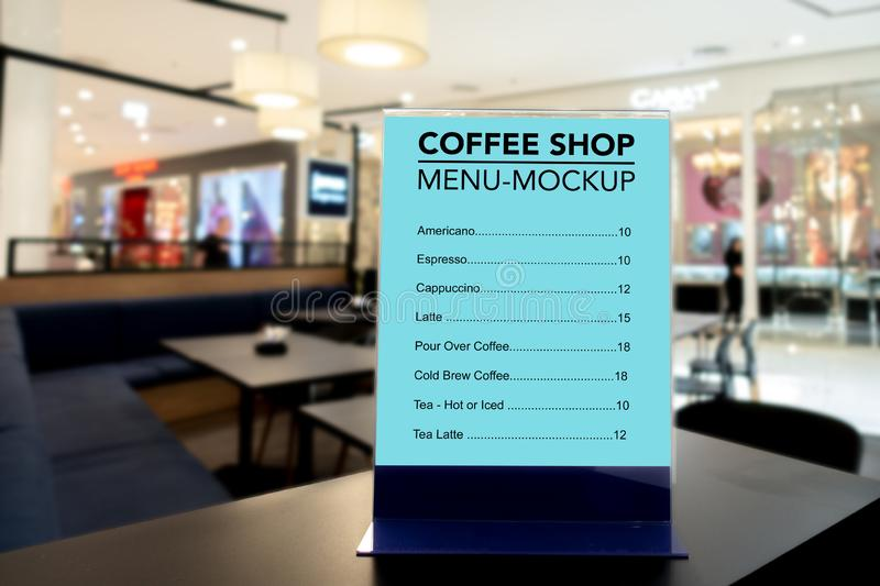 Mock up coffee menu with acrylic frame royalty free stock photos