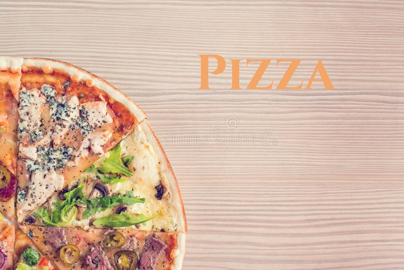 Mock up with copy space for text. Italian pizza royalty free stock photography