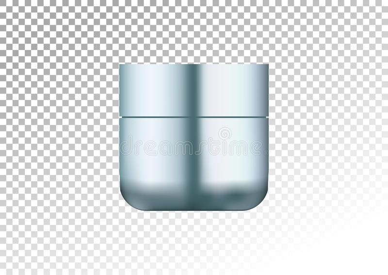 Mock up cosmetic realistic blue plastic cream jar . Cosmetic beauty product package template, illustration. Realistic mocku. Mock up cosmetic realistic blue royalty free illustration