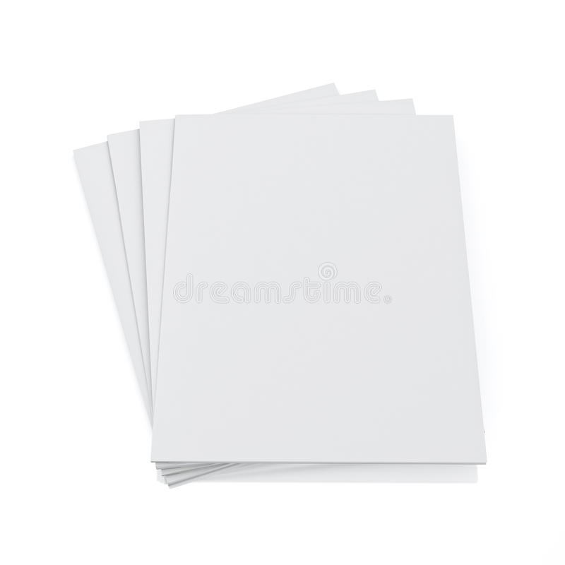 Mock up 3d model of blank magazines isolated on white background. 3d model of blank magazines isolated on white background, template design vector illustration