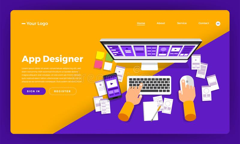 Mock-up design website flat design concept app designer create a stock illustration