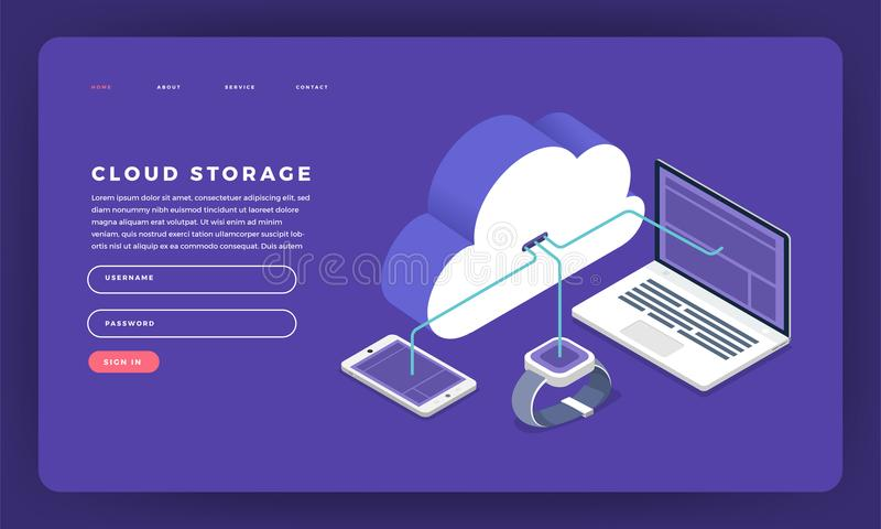 Mock-up design website flat design concept cloud computing technology users network configuration isometric. Vector illustration. royalty free illustration