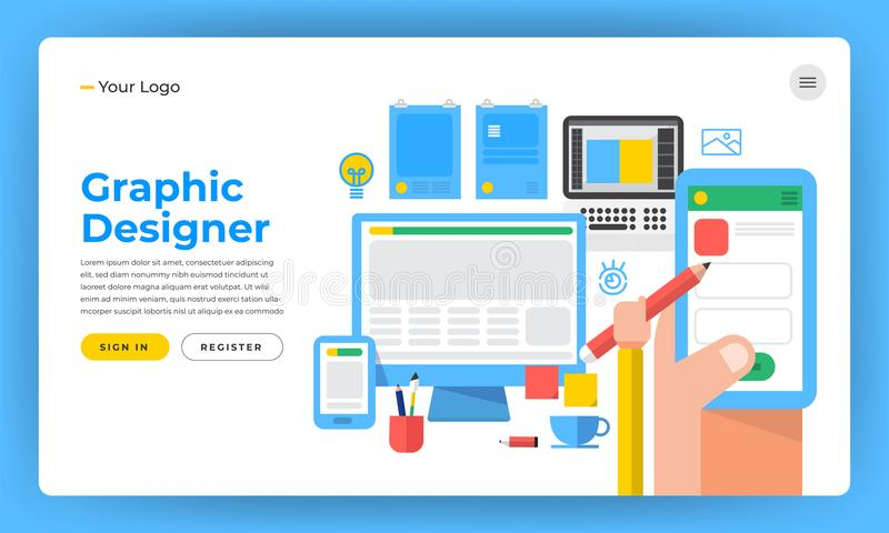 Mock-up design website flat design concept the designer like graphic website application and design tools. Vector illustration. vector illustration