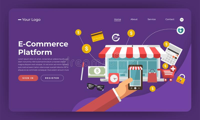 Mock-up design website flat design concept digital marketing. E-Commerce Platform. Vector illustration. stock illustration