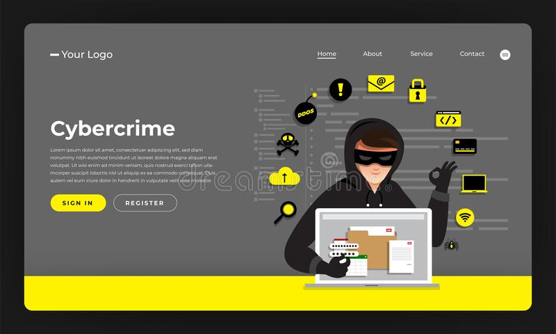 Mock-up design website flat design concept hacker activity cybercrime and cyber thief. Vector illustration. stock illustration