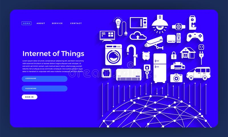 Mock-up design website flat design concept internet of things (IOT). Vector illustration. royalty free illustration