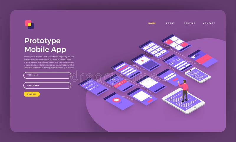 Mock-up design website flat design concept landing page prototype mobile application wireframe screen on smartphone. Vector illus stock illustration