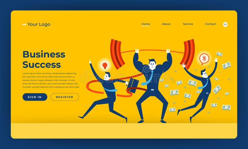 Mock-up design website flat design concept business success people skill. Vector illustration. royalty free illustration