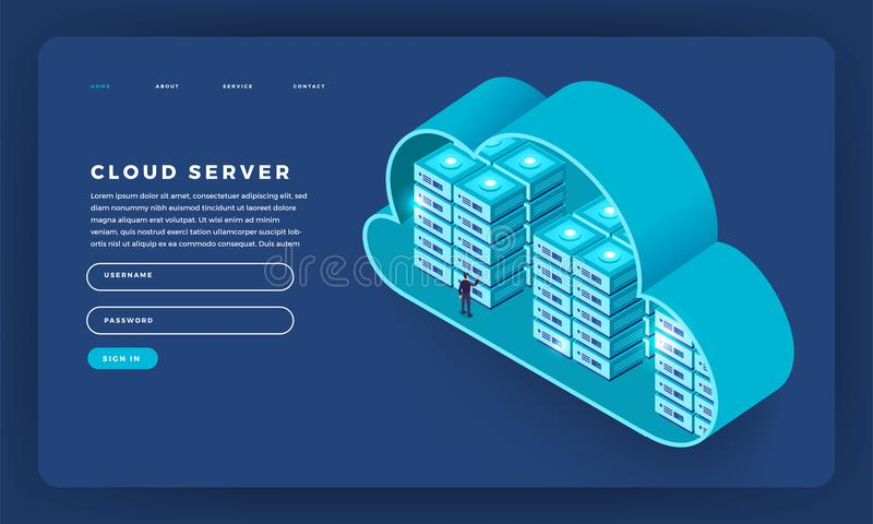 Mock-up design website flat design concept cloud computing technology users network configuration isometric. Vector illustration. royalty free illustration