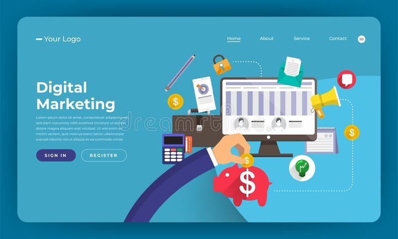 Mock-up design website flat design concept digital marketing. Vector illustration. royalty free illustration