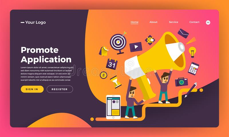 Mock-up design website flat design concept promote application. Vector illustration royalty free illustration