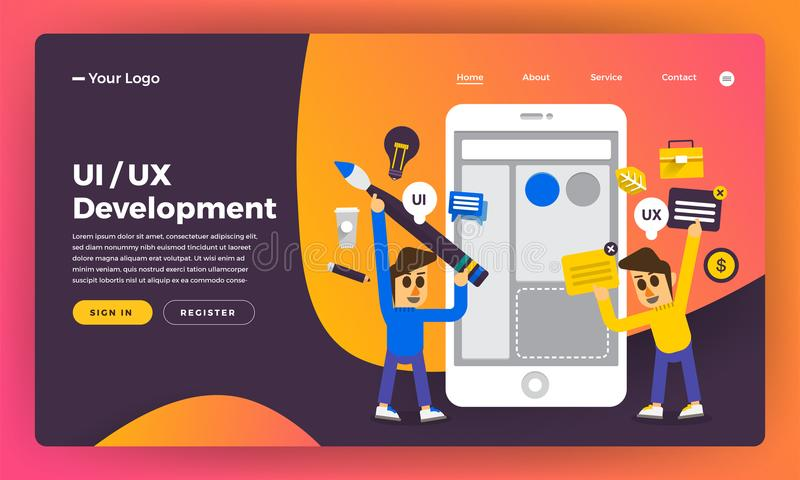 Mock-up design website flat design concept UX/UI Development. Vector illustration. stock illustration