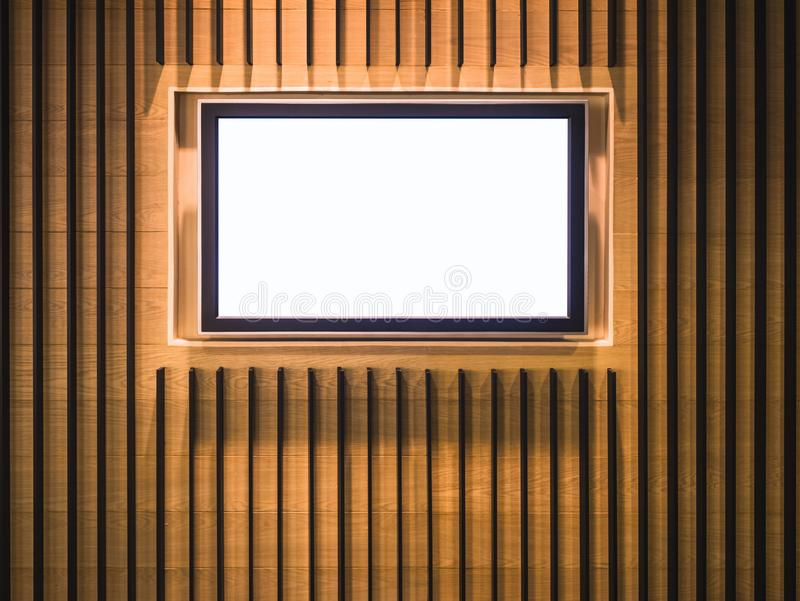 Mock up Digital screen Media display Indoor building Wooden wall. Mock up Digital screen frame Media display Indoor building Wooden wall royalty free stock photos