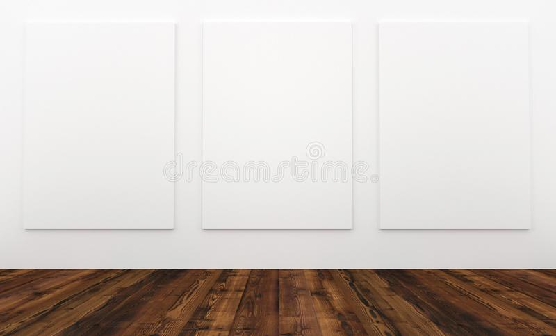 Mock up empty interior white wall and wooden floor with blank bord stock photos