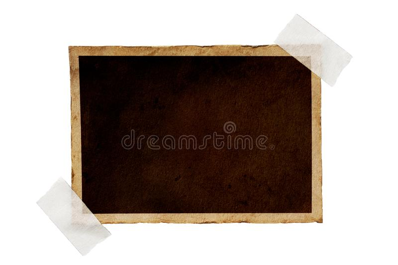 Mock up of empty old vintage black paper sheet on adhesive tape. Mockup of empty old vintage black paper sheet with scotch tape isolated on white background stock photography