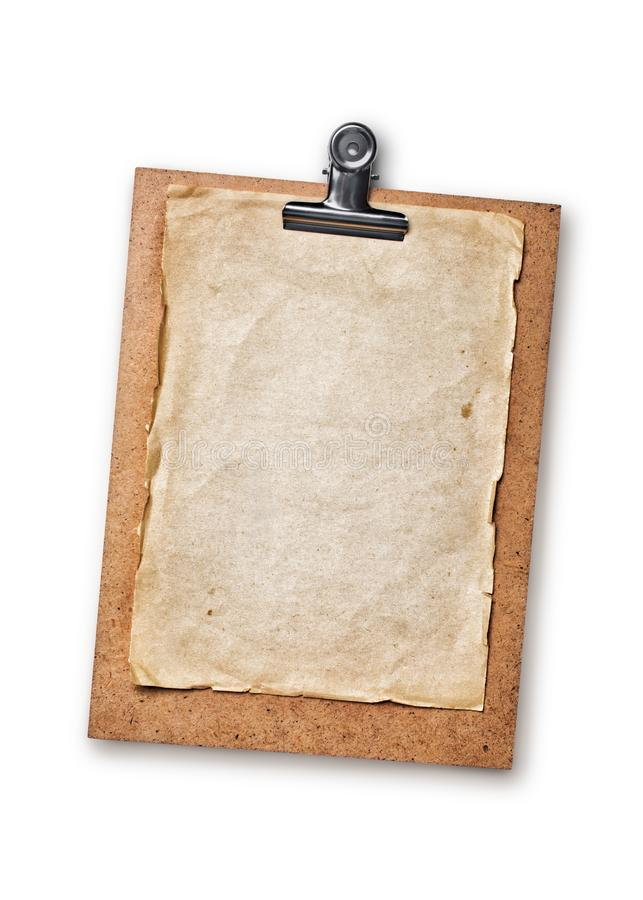 Mock up of empty old vintage paper sheet on clipboard. Mockup of empty old vintage paper sheet on clipboard isolated on white background stock photos