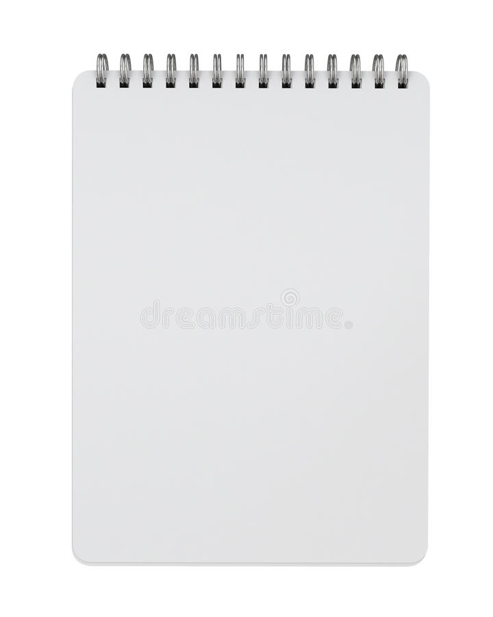 Mock up empty spiral notebook lying isolated on white background. Empty spiral notebook lying isolated on white background, template design vector illustration