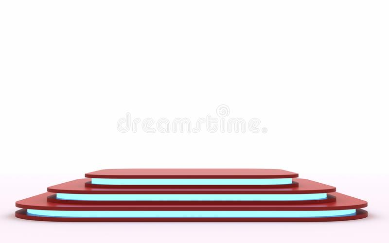 Red mock up of empty stage.Space to place your text or object. 3d render. Blue neon. Mock up of empty stage.Space to place your text or object. 3d render vector illustration